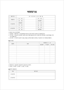 역량 평가표(관리역량)